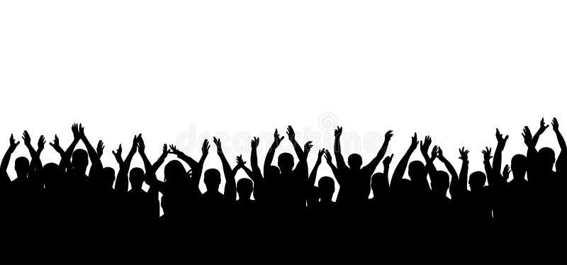 Silhueta dos povos da multidão do aplauso Cheering alegre da multidão ilustração royalty free