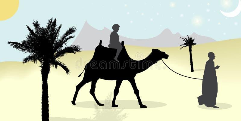 Silhueta dos povos e dos camelos do mit da caravana que vagueiam através dos desertos com as palmas na noite e no dia Vetor ilustração stock