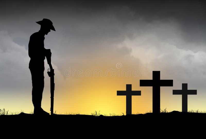 Silhueta dos soldados de ANZAC ilustração stock