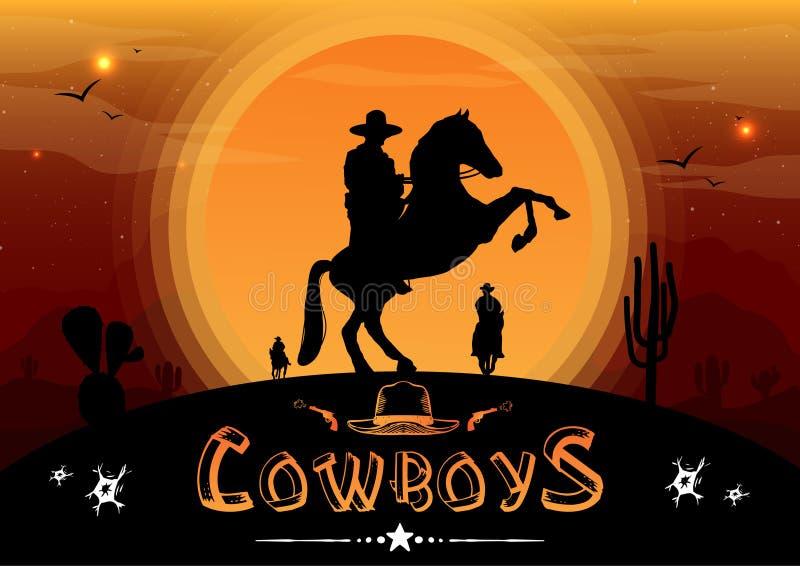 A silhueta dos vaqueiros a cavalo com o fundo é o por do sol ilustração do vetor