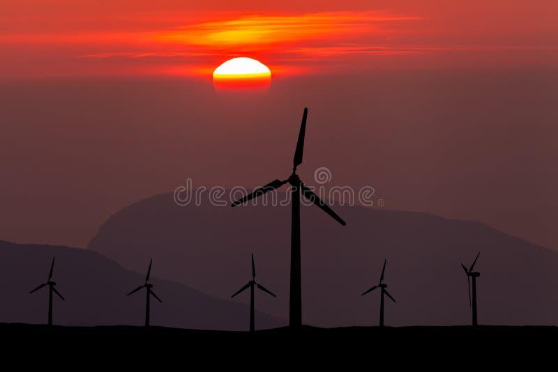 Silhueta dos windturbines em um por do sol surpreendente fotografia de stock