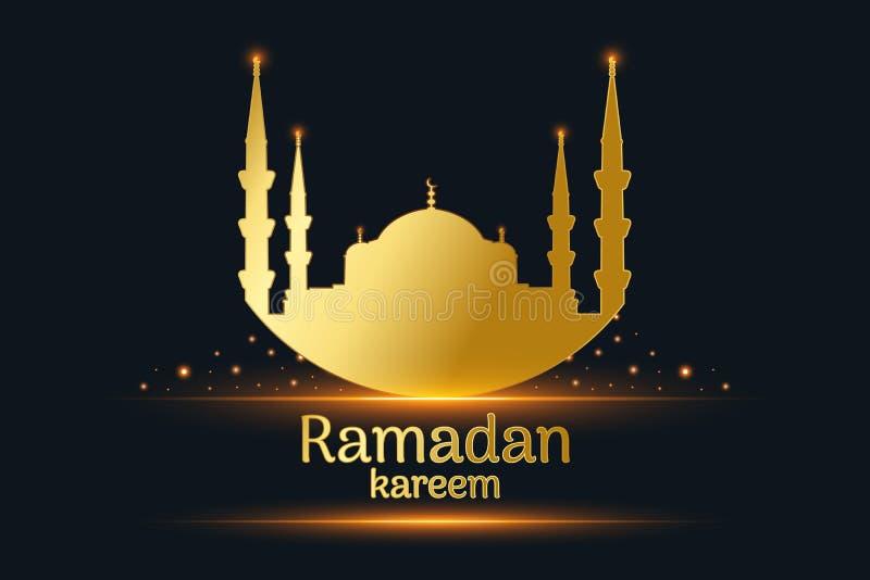 Silhueta dourada da mesquita e kareem escrito de ramadan, lâmpadas de suspensão com fundo preto, vetor ilustração stock