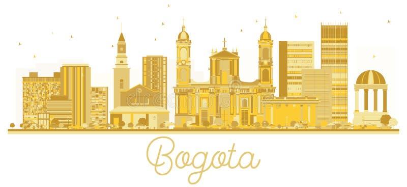 Silhueta dourada da skyline da cidade de Bogotá Colômbia ilustração stock