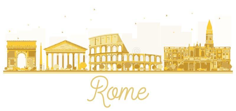 Silhueta dourada da skyline da cidade de Roma ilustração stock