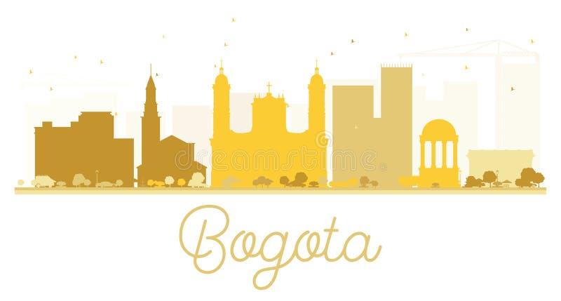 Silhueta dourada da skyline da cidade de Bogotá ilustração royalty free
