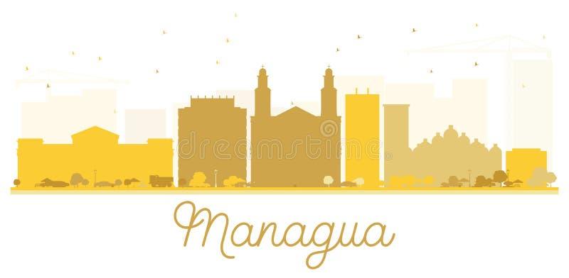 Silhueta dourada da skyline da cidade de Managua ilustração do vetor