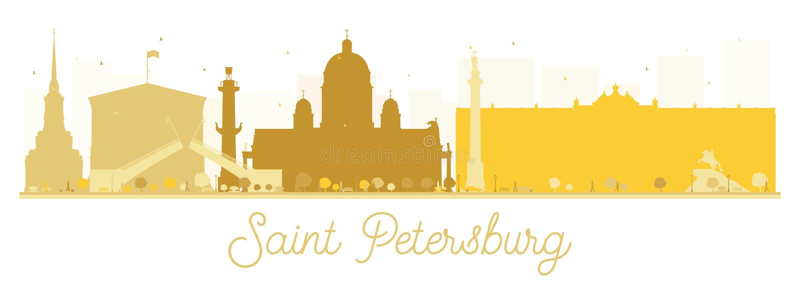 Silhueta dourada da skyline da cidade de St Petersburg ilustração do vetor