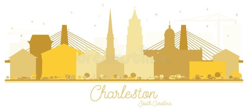 Silhueta dourada da skyline de Charleston South Carolina City ilustração royalty free