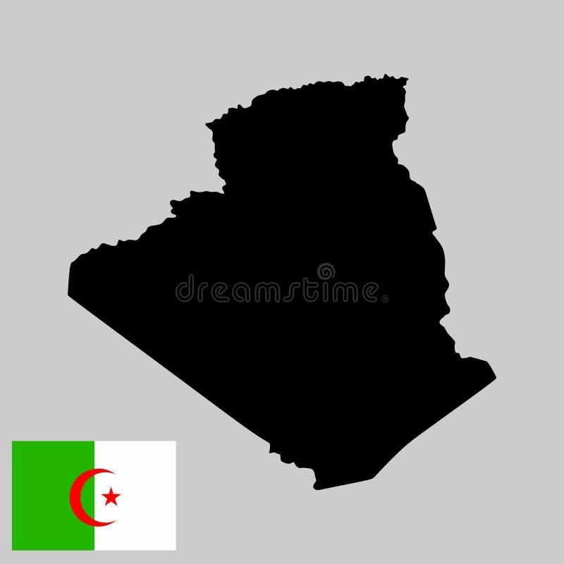 Silhueta e bandeira do mapa de Argélia ilustração do vetor