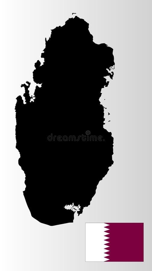 Silhueta e bandeira do mapa de Catar País de Médio Oriente Estado em Ásia ilustração stock