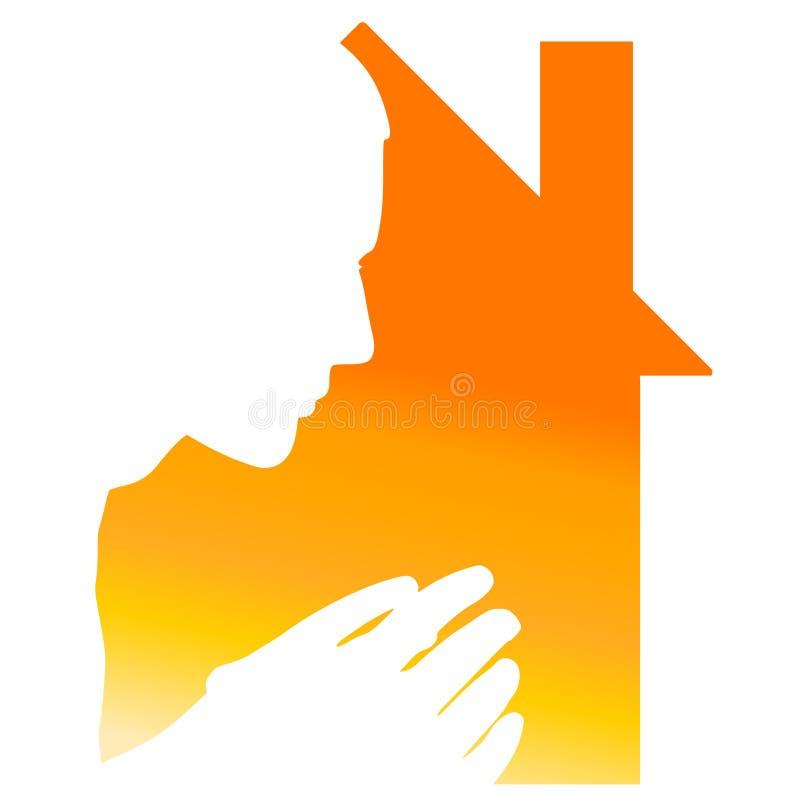 Silhueta e casa Praying ilustração do vetor
