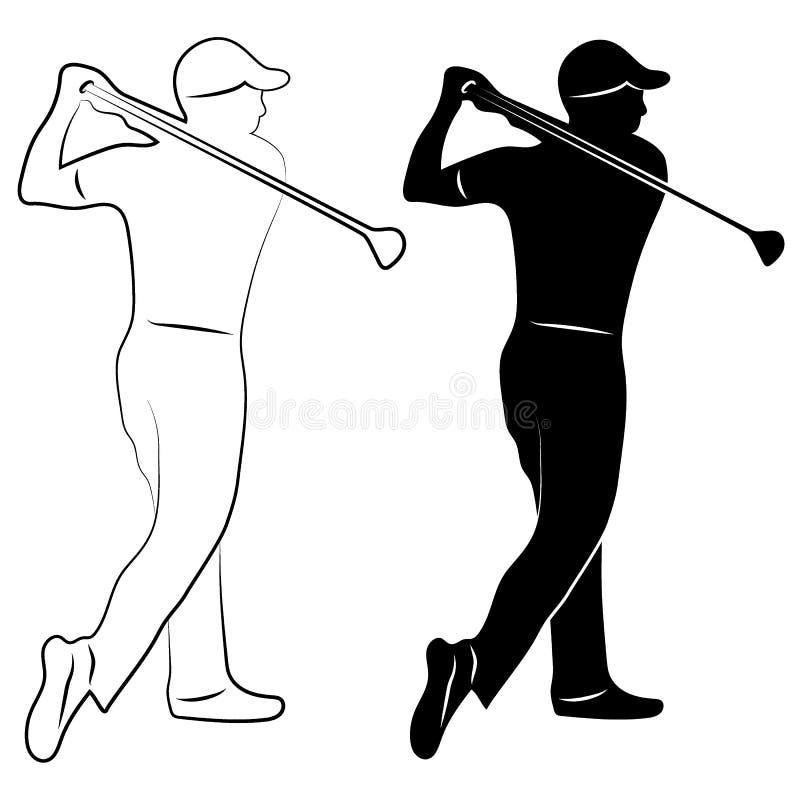 Silhueta e contorno do jogador de golfe ilustração royalty free