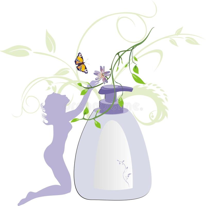 Silhueta e gel Womanish para uma higiene   ilustração do vetor