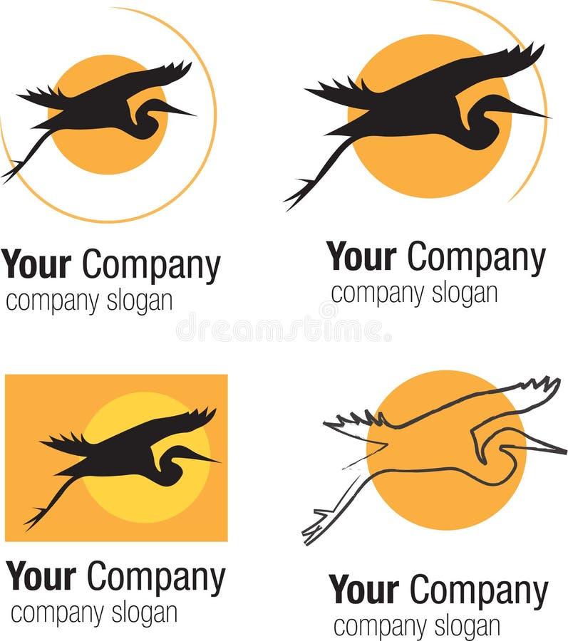 Silhueta e sol do pássaro do logotipo ilustração do vetor