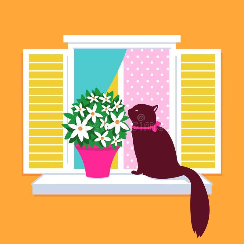 Silhueta elegante do vetor do gato que senta-se no windo ilustração royalty free