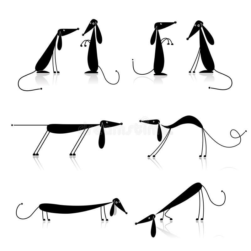 Silhueta engraçada dos cães pretos, coleção ilustração stock