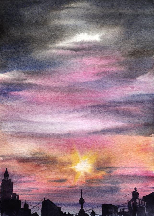 Silhueta escura da cidade na perspectiva de um gra cor-de-rosa ilustração do vetor