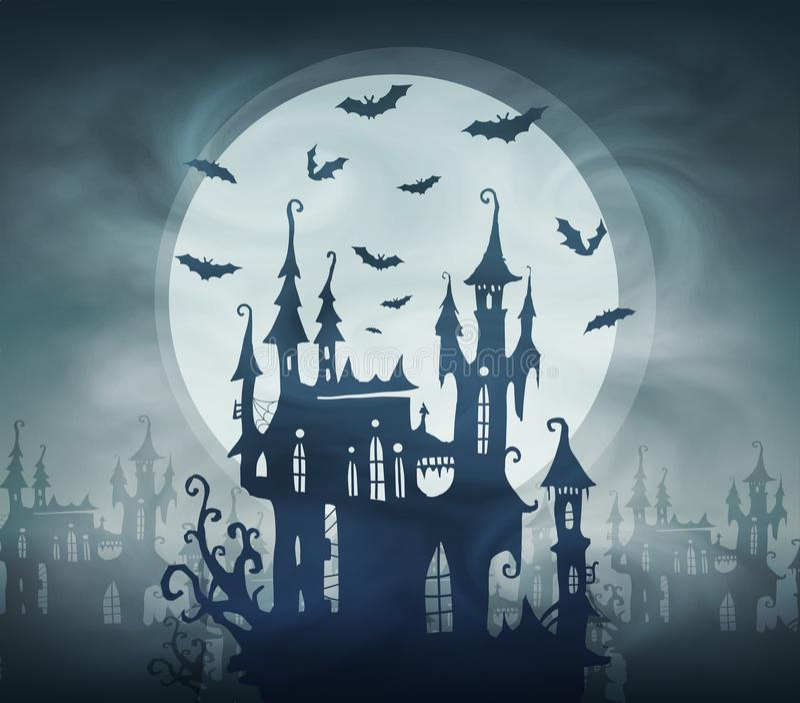 Silhueta escura do castelo de Dracula com bastões e a lua gigante Molde do cartão do Dia das Bruxas do vetor ilustração stock