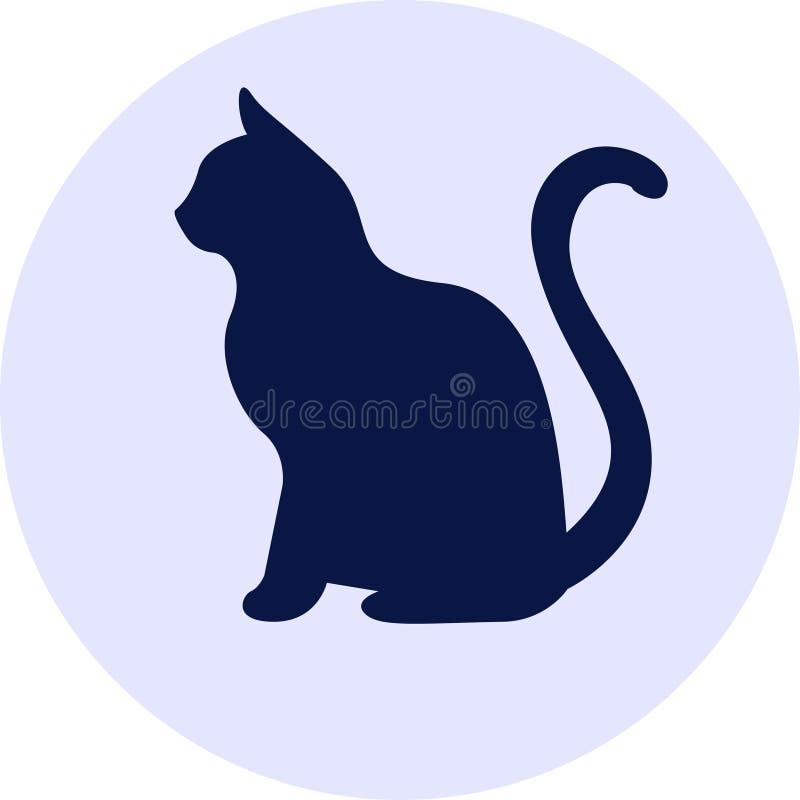 Silhueta escura do gato ilustração do vetor