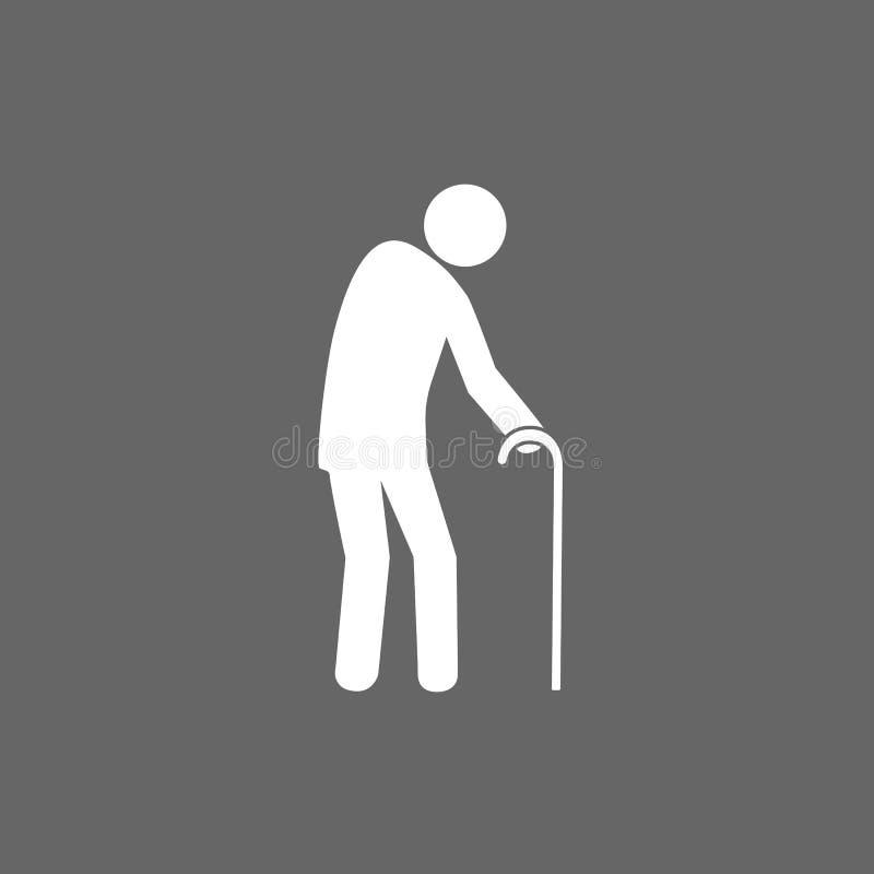 Silhueta estando com uma vara de passeio, sinal do ancião do toalete Preto no fundo branco Projeto liso Vetor ilustração do vetor