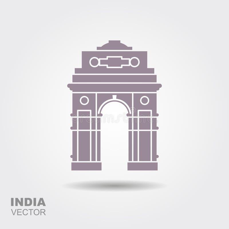 Silhueta estilizado da porta indiana em Nova Deli ilustração do vetor