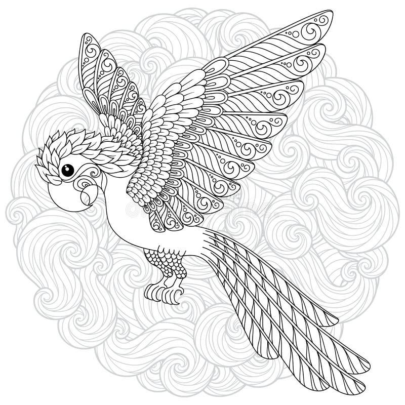Silhueta estilizado do papagaio da selva da cacatua da fantasia do vetor ilustração royalty free