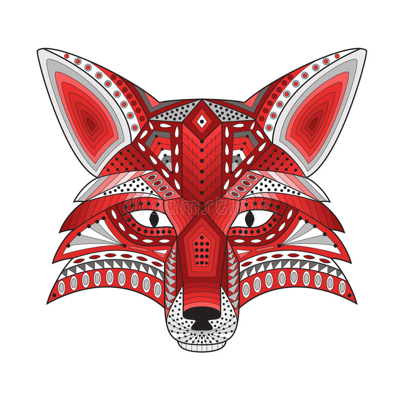 Silhueta estilizado modelada da raposa principal ilustração do vetor