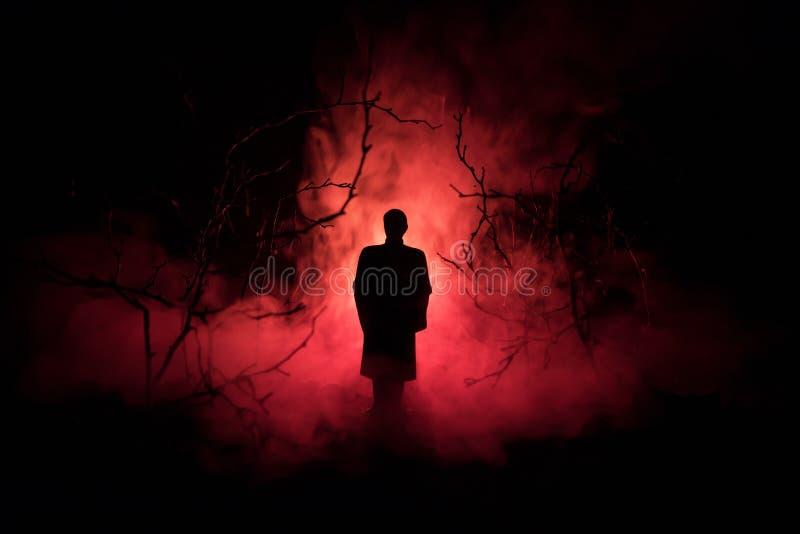 Silhueta estranha em uma floresta assustador escura na noite, luzes surreais da paisagem místico com homem assustador toned fotografia de stock