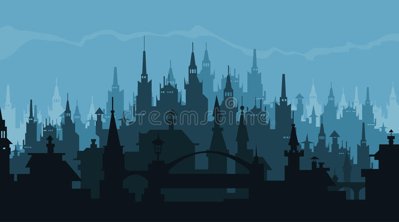 Silhueta europeia da cidade das construções no estilo gótico ilustração do vetor