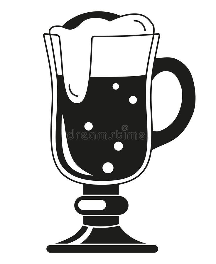 Silhueta extravagante preto e branco do vidro de cerveja ilustração stock