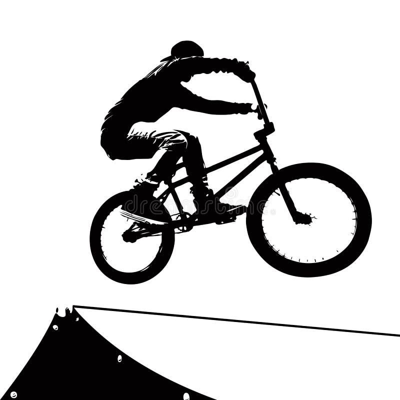 Silhueta extrema do motociclista ilustração do vetor