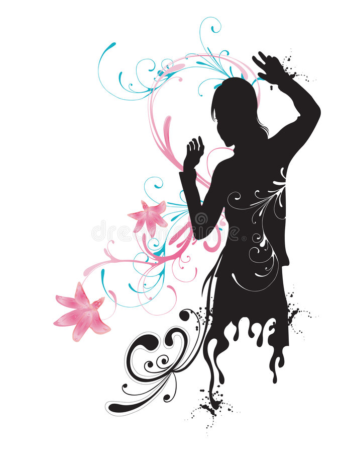 Silhueta fêmea ilustração stock