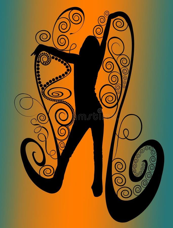 Silhueta fêmea da fantasia com redemoinhos ilustração do vetor