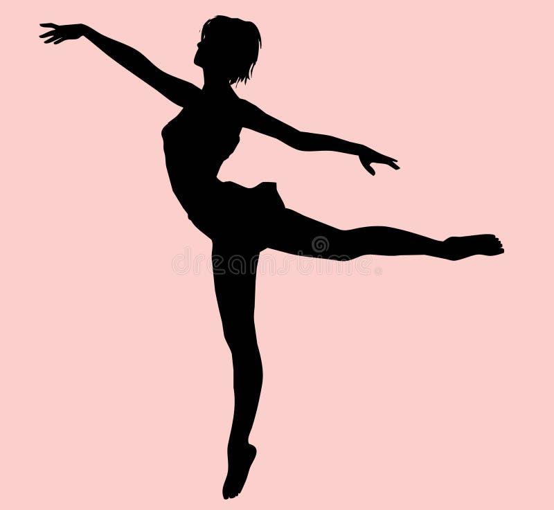Silhueta fêmea do dançarino ilustração do vetor