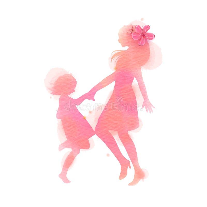 Silhueta feliz da dança da mamã e da menina no fundo da aquarela M?e e filha Dia feliz do `s da matriz Pintura da arte de Digitas ilustração royalty free