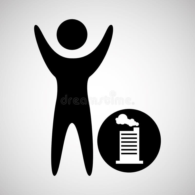 silhueta feliz do homem com ícone da fábrica da construção ilustração royalty free