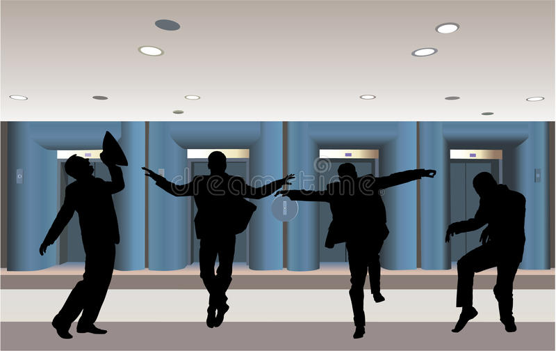 Silhueta feliz do homem de negócios no vetor do corredor ilustração stock