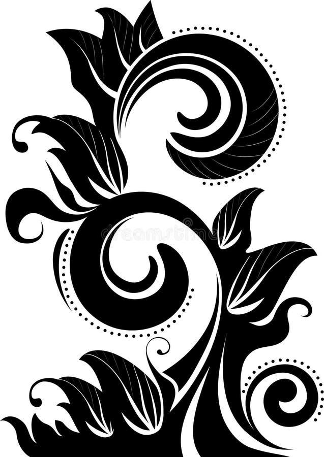 Silhueta floral abstrata ilustração royalty free