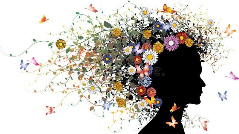 Silhueta floral da menina ilustração do vetor