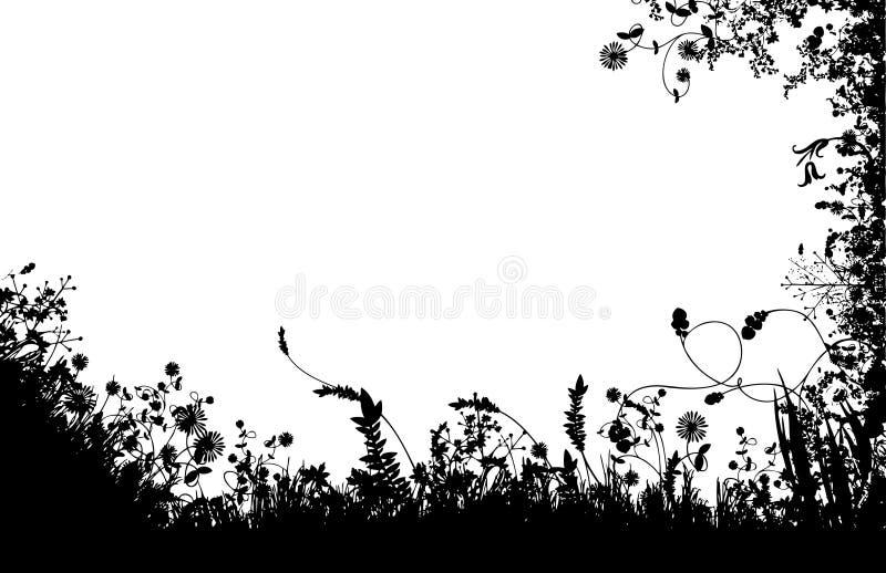 Silhueta floral dos campos ilustração stock