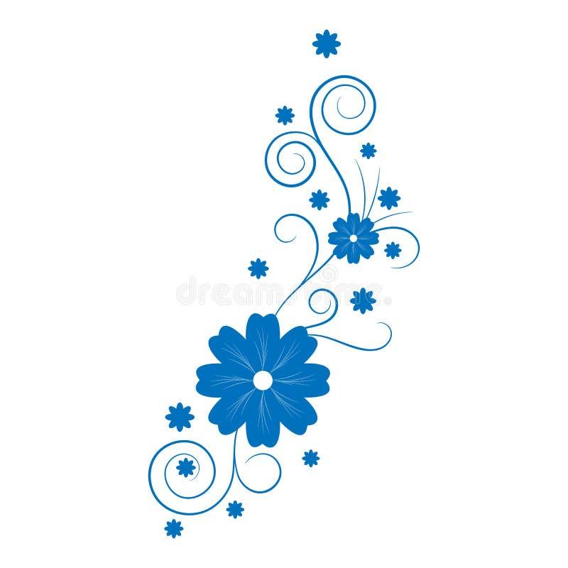 Silhueta floral vertical abstrata do redemoinho ilustração do vetor