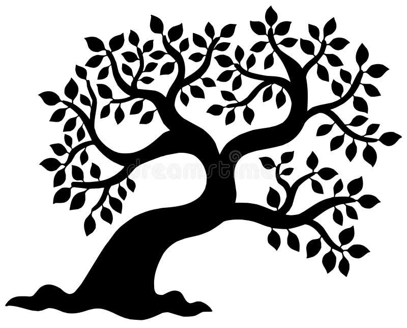 Silhueta frondosa da árvore ilustração stock