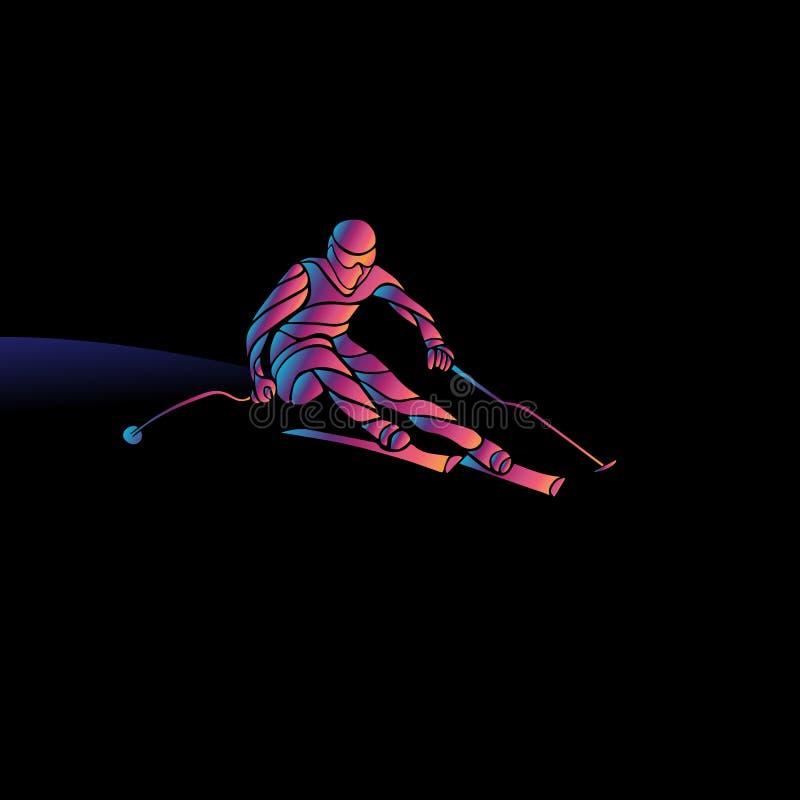 Silhueta gigante de Ski Racer do slalom Ilustração de cor ilustração stock
