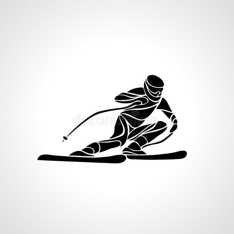 Silhueta gigante de Ski Racer do slalom Ilustração do vetor ilustração stock
