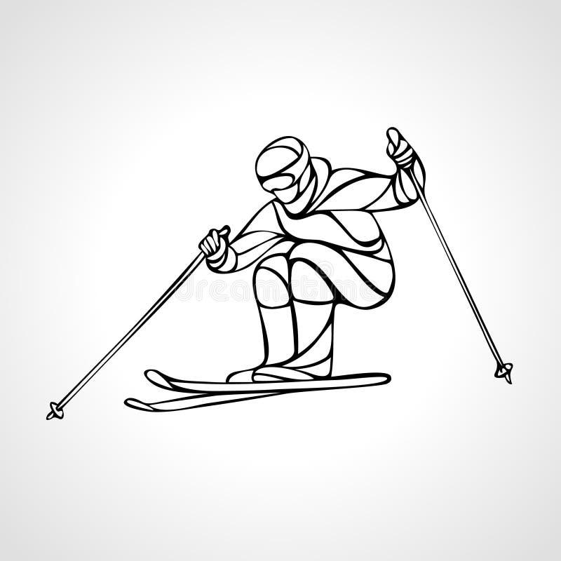 Silhueta gigante do esboço de Ski Racer do slalom Ilustração do vetor ilustração royalty free