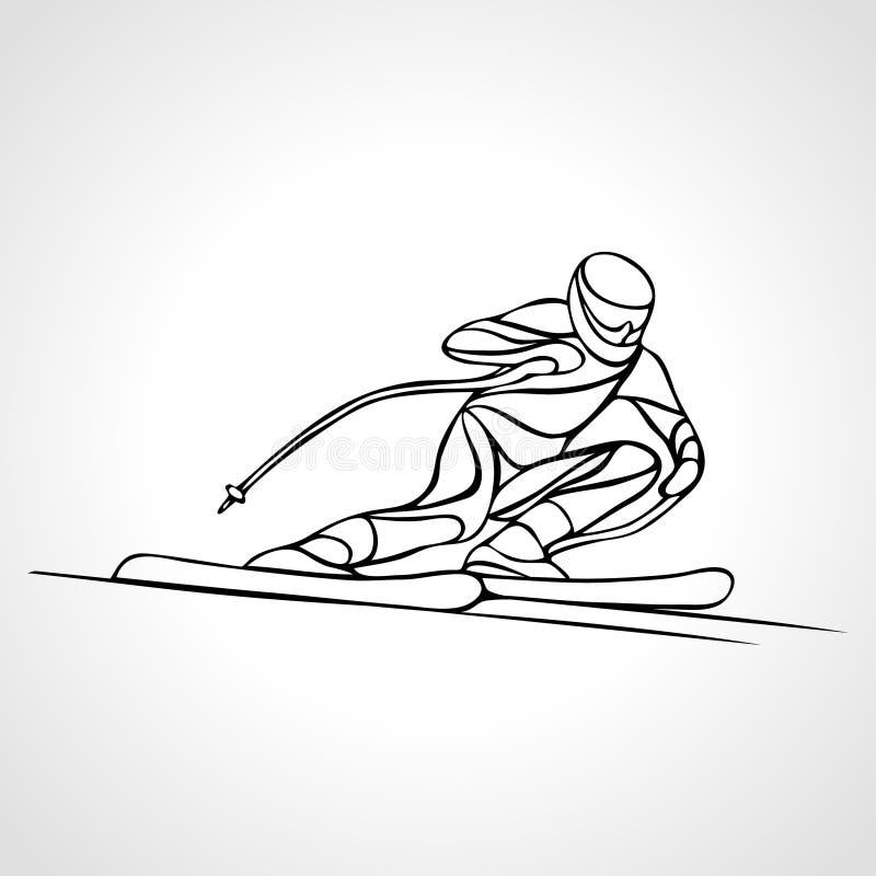 Silhueta gigante do esboço de Ski Racer do slalom Ilustração do vetor ilustração stock