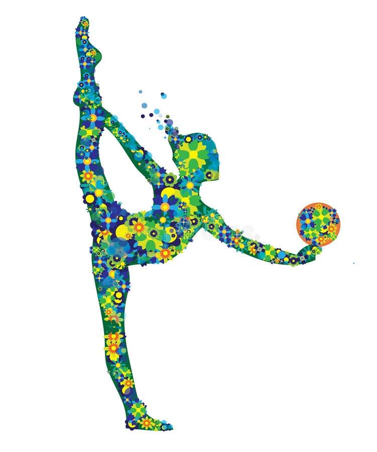 A silhueta ginástica da menina com as flores verdes e azuis veste-se isolado ilustração royalty free