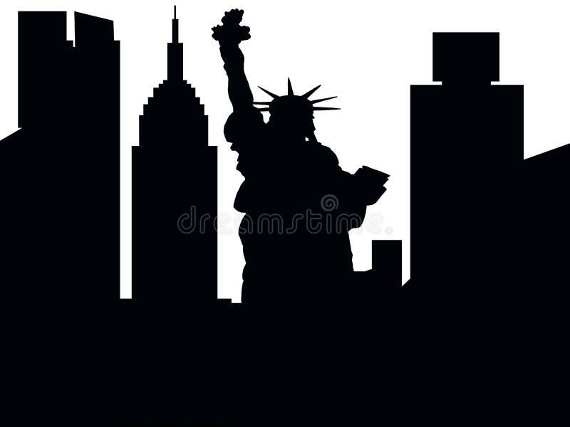 A silhueta grande de New York City ilustração do vetor