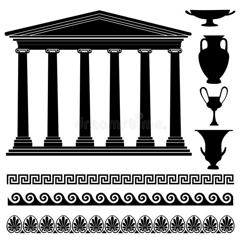 Silhueta grega do vaso, ornamento sem emenda, coleção do templo Grupo do ícone de Grécia do curso ilustração stock