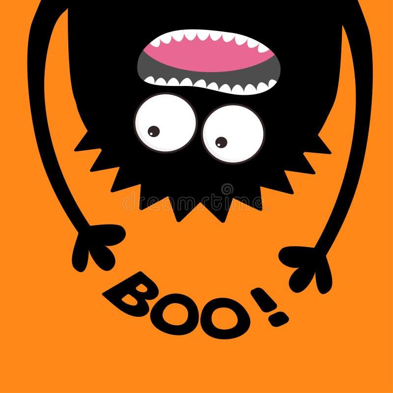 Silhueta gritando da cabeça do monstro Boo Text Dois olhos, dentes, língua, mãos Suspensão de cabeça para baixo Bebê bonito engra ilustração do vetor